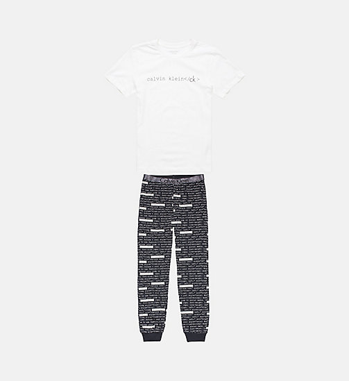 CALVINKLEIN Boys PJ Set - Customized Stretch - WHITE W/ CLVIN HTML BLK - CALVIN KLEIN PYJAMAS - main image