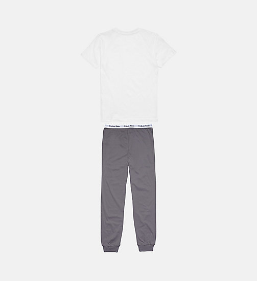 CALVINKLEIN Boys PJ Set - Modern Cotton - WHITE/ GREY SKY - CALVIN KLEIN BOYS - detail image 1