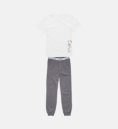 CALVINKLEIN Boys PJ Set - Modern Cotton - WHITE/ GREY SKY - CALVIN KLEIN BOYS - main image