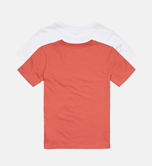 CALVINKLEIN 2 Pack Boys T-shirts - Modern Cotton - 1 TOMATO/ 1 WHITE - CALVIN KLEIN BOYS - detail image 1