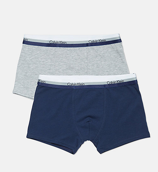 CALVINKLEIN 2 Pack Boys Trunks - CK Graphic - 1 GREY HEATHER/ 1 BLUE SHADOW - CALVIN KLEIN BOYS - main image