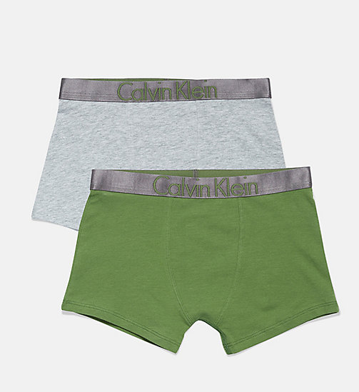 CALVIN KLEIN 2 Pack Boys Trunks - Customized Stretch - 1GREYHEATHER/1KALE - CALVIN KLEIN BOYS - main image