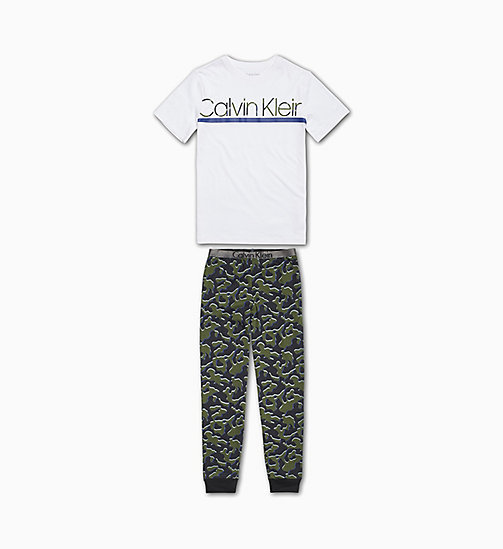 CALVIN KLEIN Boys PJ Set - Customized Stretch - 1WHITE/1CAMOBLACK - CALVIN KLEIN BOYS - main image