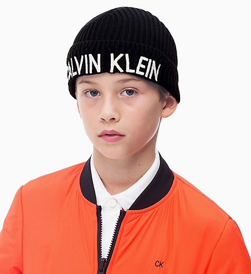 CALVIN KLEIN JEANS Organic Cotton Beanie - BLACK BEAUTY - CALVIN KLEIN JEANS BAGS & ACCESSORIES - detail image 1