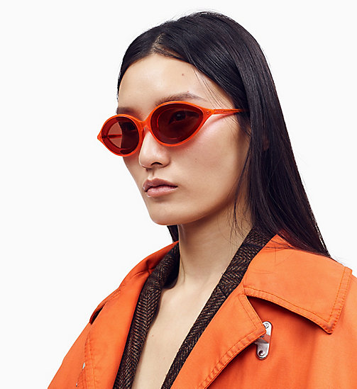 205W39NYC Cat Eye Sunglasses CKNYC1853S - CRYSTAL NEON ORANGE - 205W39NYC EYEWEAR - main image