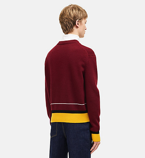 CALVINKLEIN Contrast Trim Crew Neck Sweater - BURGUNDY MULTICOLOR - CALVIN KLEIN MEN - detail image 1