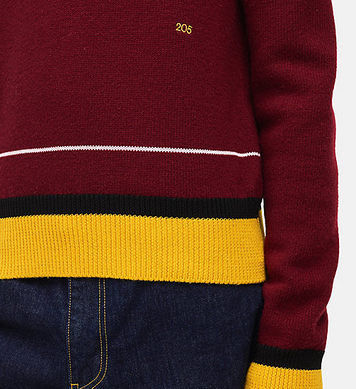CALVIN KLEIN Contrast Trim Crew Neck Sweater - BURGUNDY MULTICOLOR - CALVIN KLEIN MEN - detail image 1