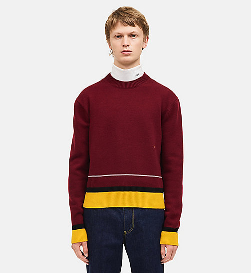 CALVIN KLEIN Contrast Trim Crew Neck Sweater - BURGUNDY MULTICOLOR - CALVIN KLEIN MEN - main image
