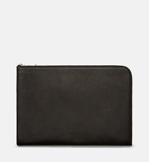 CALVIN KLEIN Leather Envelope - BLACK - CALVIN KLEIN BAGS - main image