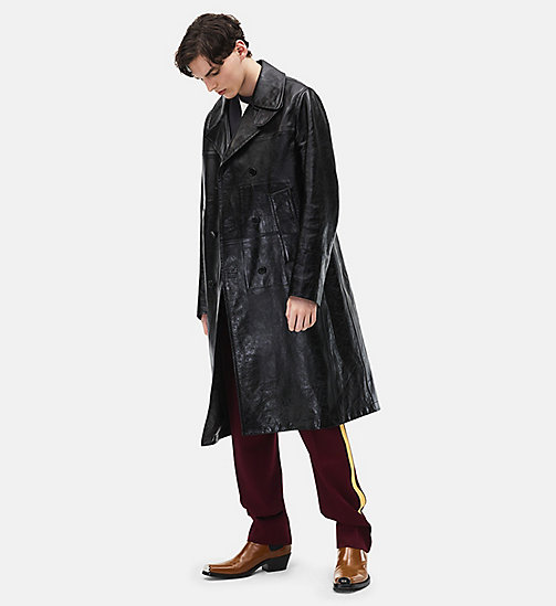 CALVINKLEIN Double-breasted Leather Overcoat - BLACK - CALVIN KLEIN MEN - main image