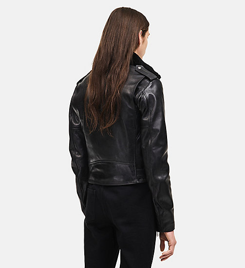 CALVINKLEIN Leather Biker Jacket - BLACK - CALVIN KLEIN MEN - detail image 1