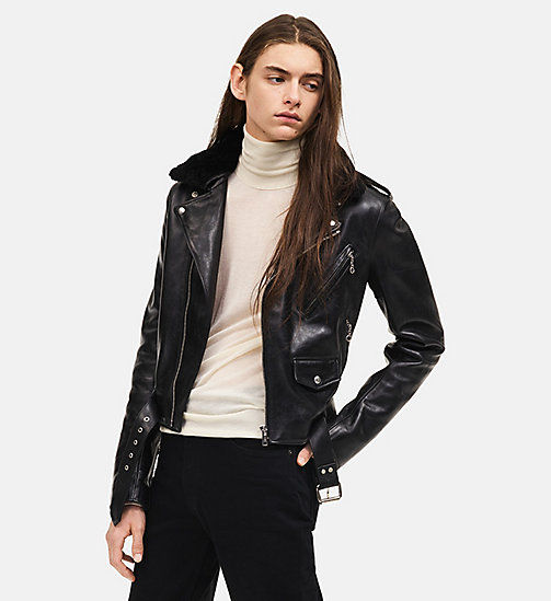 CALVINKLEIN Leather Biker Jacket - BLACK - CALVIN KLEIN MEN - main image