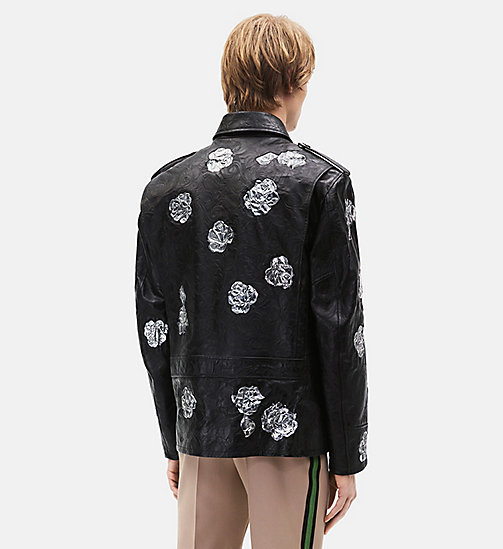 CALVINKLEIN Embossed Policeman Metallic Floral Appliqué Jacket - BLACK - CALVIN KLEIN MEN - detail image 1