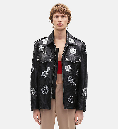 CALVIN KLEIN Embossed Policeman Metallic Floral Appliqué Jacket - BLACK - CALVIN KLEIN MEN - detail image 1