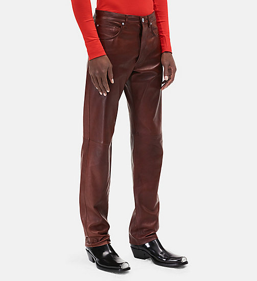 CALVIN KLEIN Leather Jeans - COGNAC - CALVIN KLEIN MEN - main image