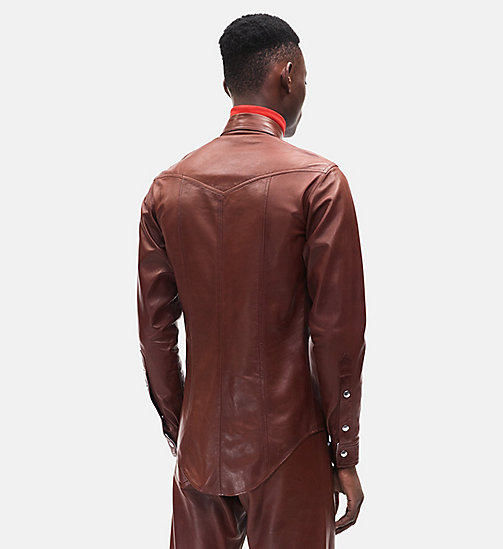 CALVINKLEIN Western Leather Jean Shirt - COGNAC - CALVIN KLEIN MEN - detail image 1