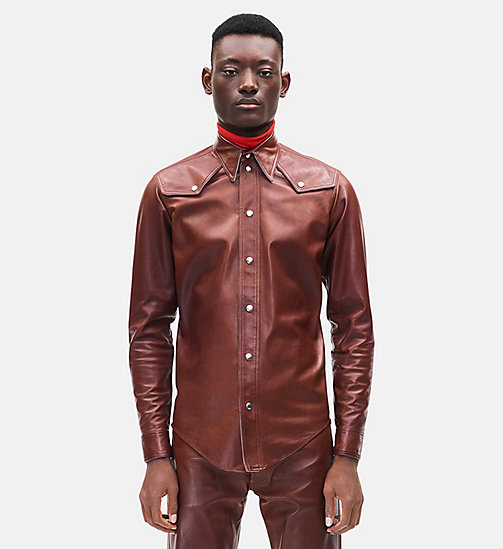 CALVIN KLEIN Western Leather Jean Shirt - COGNAC -  MEN - main image