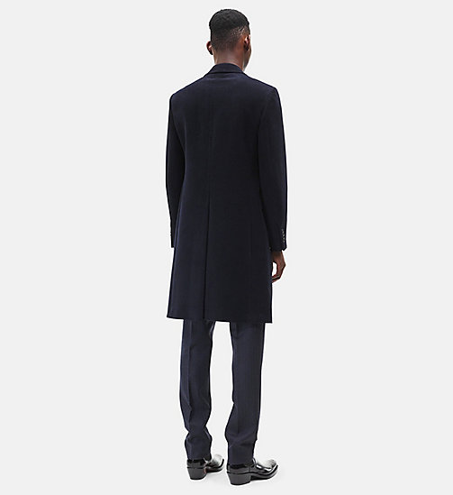 CALVIN KLEIN Single-breasted Moleskin Overcoat - DARK NAVY - CALVIN KLEIN MEN - detail image 1