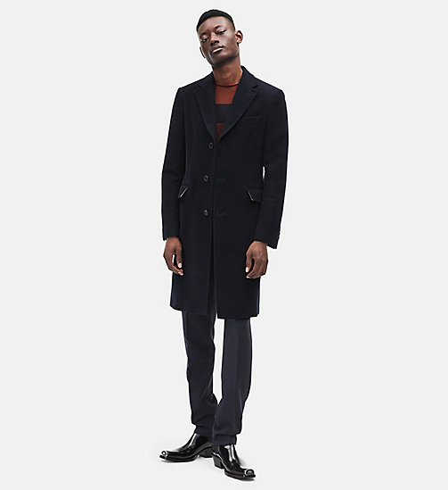 CALVIN KLEIN Single-breasted Moleskin Overcoat - DARK NAVY - CALVIN KLEIN MEN - main image