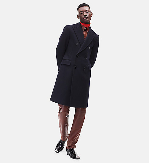 CALVIN KLEIN Double-Breasted Wool Overcoat - DARK NAVY - CALVIN KLEIN MEN - main image