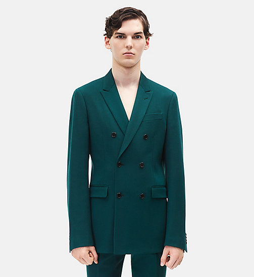 CALVIN KLEIN Classic Double-Breasted Blazer - DARK GREEN - CALVIN KLEIN MEN - main image