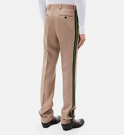 CALVINKLEIN Classic Straight Leg Marching Band Trousers - SAND + GREEN - CALVIN KLEIN CLOTHES - detail image 1