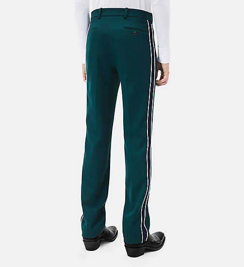 CALVIN KLEIN Classic Straight Leg Marching Band Trousers - DARK GREEN + BLUE - CALVIN KLEIN CLOTHES - detail image 1