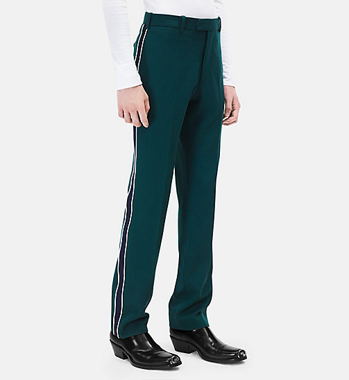 CALVINKLEIN Classic Straight Leg Marching Band Trousers - DARK GREEN + BLUE - CALVIN KLEIN CLOTHES - main image