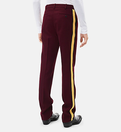 CALVINKLEIN Classic Straight Leg Marching Band Trousers - PLUM + YELLOW - CALVIN KLEIN MEN - detail image 1