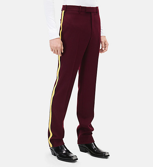 CALVINKLEIN Classic Straight Leg Marching Band Trousers - PLUM + YELLOW - CALVIN KLEIN MEN - main image