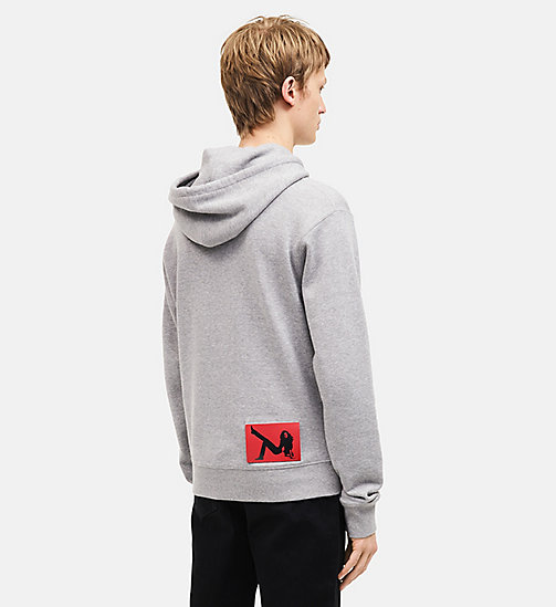 CALVINKLEIN French Terry Hooded Sweatshirt - HEATHER GREY - CALVIN KLEIN MEN - detail image 1