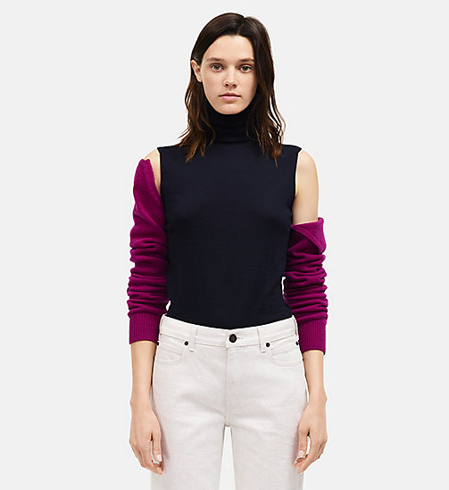 CALVIN KLEIN Detachable Sleeve High Neck Top - NAVY ORCHID - CALVIN KLEIN SALE - detail image 1