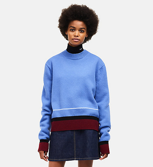 CALVINKLEIN Chunky Crew Neck Sweater - BLUE MULTI - CALVIN KLEIN CLOTHES - main image