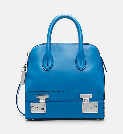 CALVIN KLEIN Mini Leather Shoulder Bag - AZURE - CALVIN KLEIN BAGS - main image