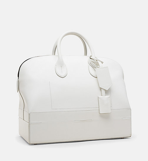 CALVINKLEIN Medium Luxe Leather Tote - WHITE - CALVIN KLEIN WOMEN - detail image 1