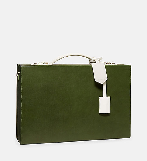 CALVIN KLEIN Luxe Leather Briefcase - SAGE - CALVIN KLEIN SALE - detail image 1