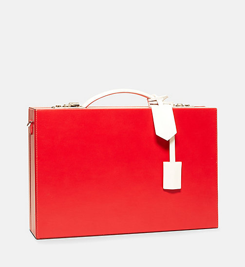 CALVINKLEIN Luxe Leather Briefcase - RED - CALVIN KLEIN WOMEN - detail image 1