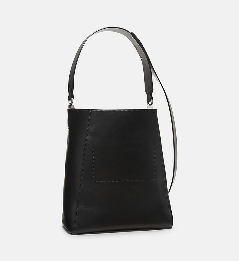 CALVINKLEIN Printed Cow Haircalf Leather Bucket Bag - WHITE BLACK - CALVIN KLEIN BAGS & ACCESSORIES - detail image 1