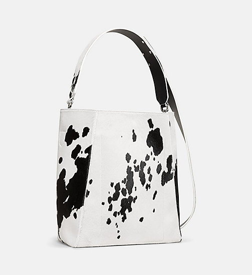 CALVINKLEIN Printed Cow Haircalf Leather Bucket Bag - WHITE / BLACK - CALVIN KLEIN WOMEN - detail image 1