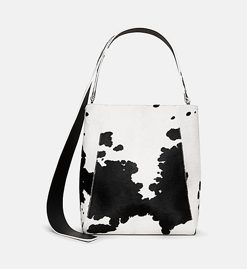 CALVINKLEIN Printed Cow Haircalf Leather Bucket Bag - WHITE / BLACK - CALVIN KLEIN WOMEN - main image