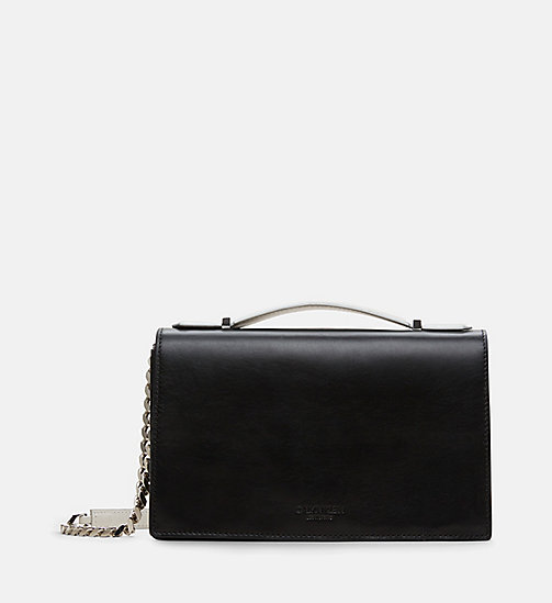 CALVIN KLEIN Leather Chain Shoulder Bag - BLACK - CALVIN KLEIN BAGS - main image