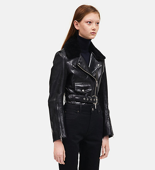 CALVIN KLEIN Leather Biker Jacket - BLACK - CALVIN KLEIN WOMEN - detail image 1