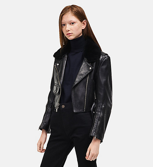 CALVIN KLEIN Leather Biker Jacket - BLACK - CALVIN KLEIN WOMEN - main image