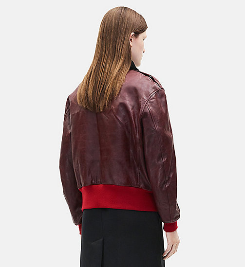 CALVINKLEIN Leather Bomber Jacket - MALBEC - CALVIN KLEIN CLOTHES - detail image 1