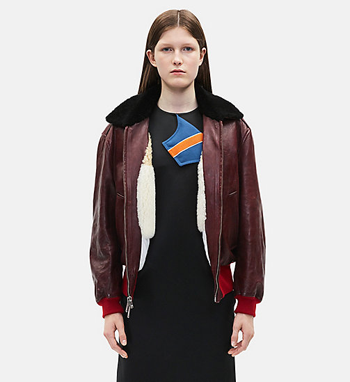CALVINKLEIN Leather Bomber Jacket - MALBEC - CALVIN KLEIN CLOTHES - main image