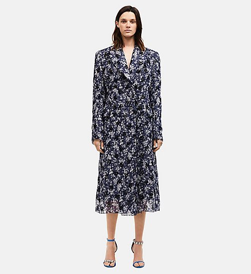 CALVINKLEIN Double Breasted Floral Silk Georgette Coat - BLUE - CALVIN KLEIN 205W39NYC - main image