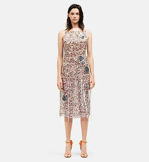 CALVINKLEIN Plastic Floral Georgette Overdress - WHITE GREEN - CALVIN KLEIN CLOTHES - main image
