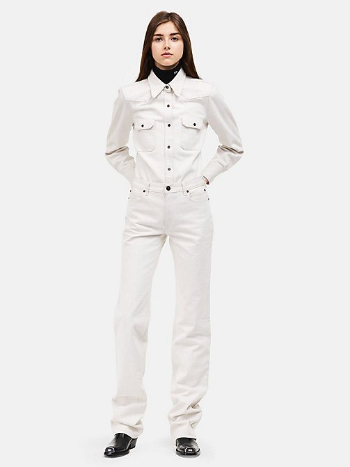 CALVINKLEIN High-Rise Straight Leg Jeans - WHITE - CALVIN KLEIN CLOTHES - main image