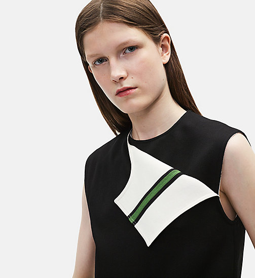 CALVIN KLEIN Sleeveless Marching Band Uniform Top - BLACK/WHITE - CALVIN KLEIN SALE - detail image 1
