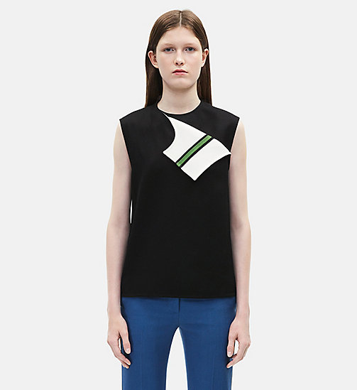 CALVIN KLEIN Sleeveless Marching Band Uniform Top - BLACK /WHITE - CALVIN KLEIN WOMEN - main image
